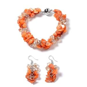 Orange Shell, Yellow Beads Earrings and Bracelet